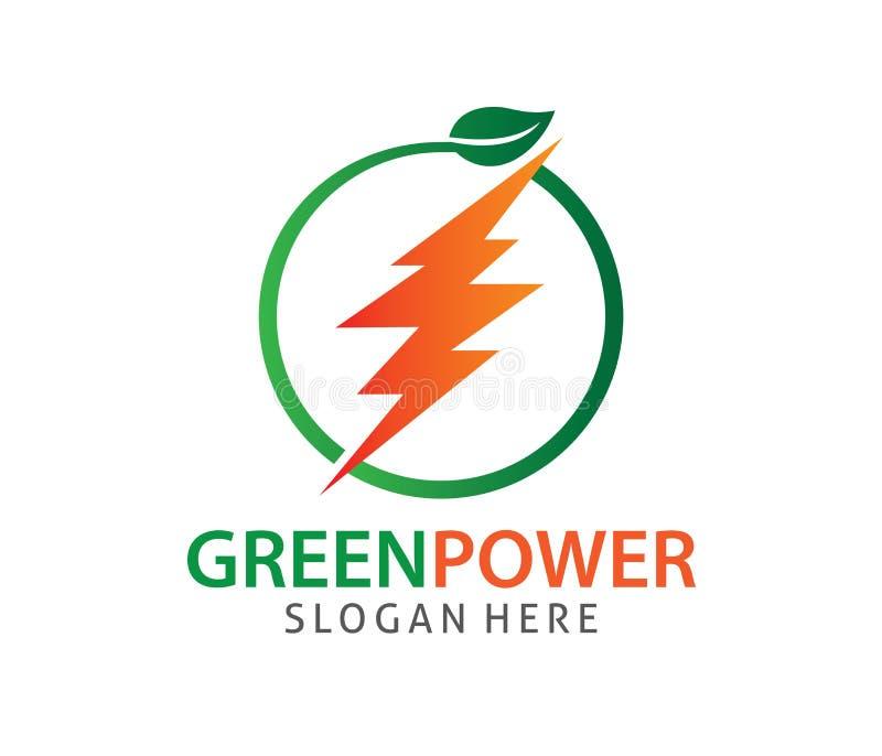Grön för emissionsstyrkaelektricitet för energi noll design för logo för vektor royaltyfri illustrationer