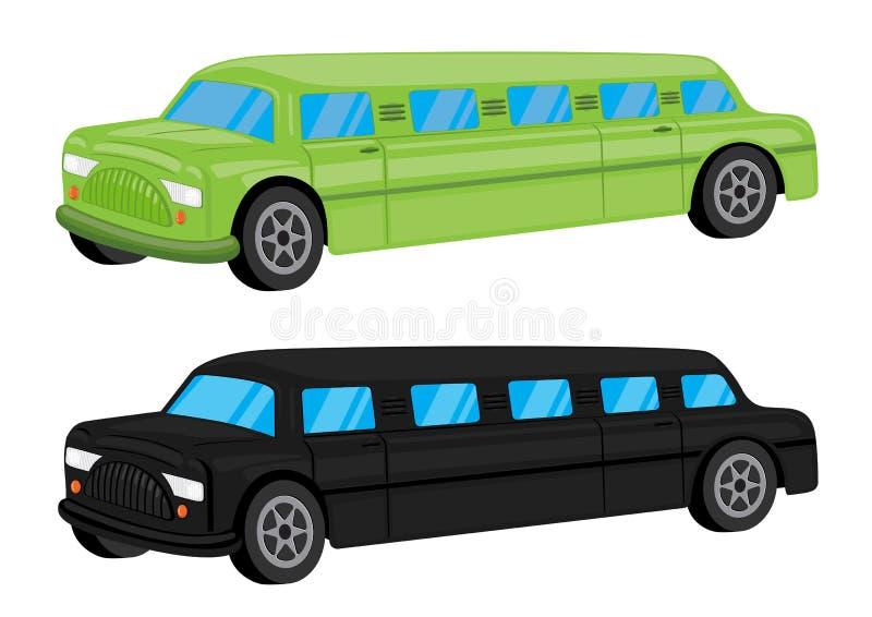 Grön/för svartlimousinebil för medel tecknad film stock illustrationer