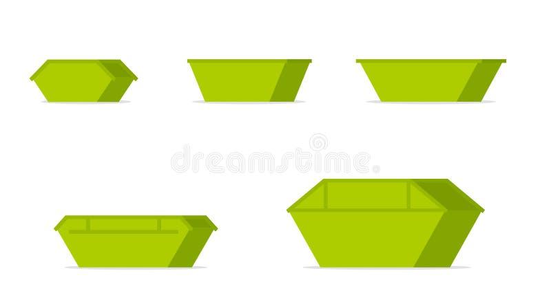 Grön förlorad uppsättning för överhoppfacksymbol royaltyfri illustrationer