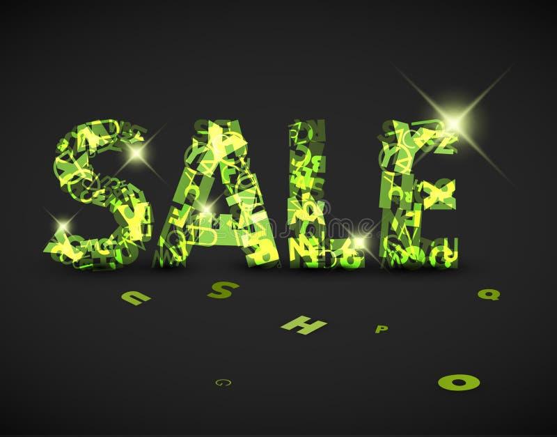 Grön försäljningsetikett för vektor som göras från bokstäver vektor illustrationer