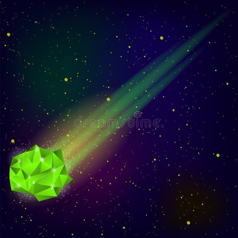 Grön fallande meteor stock illustrationer