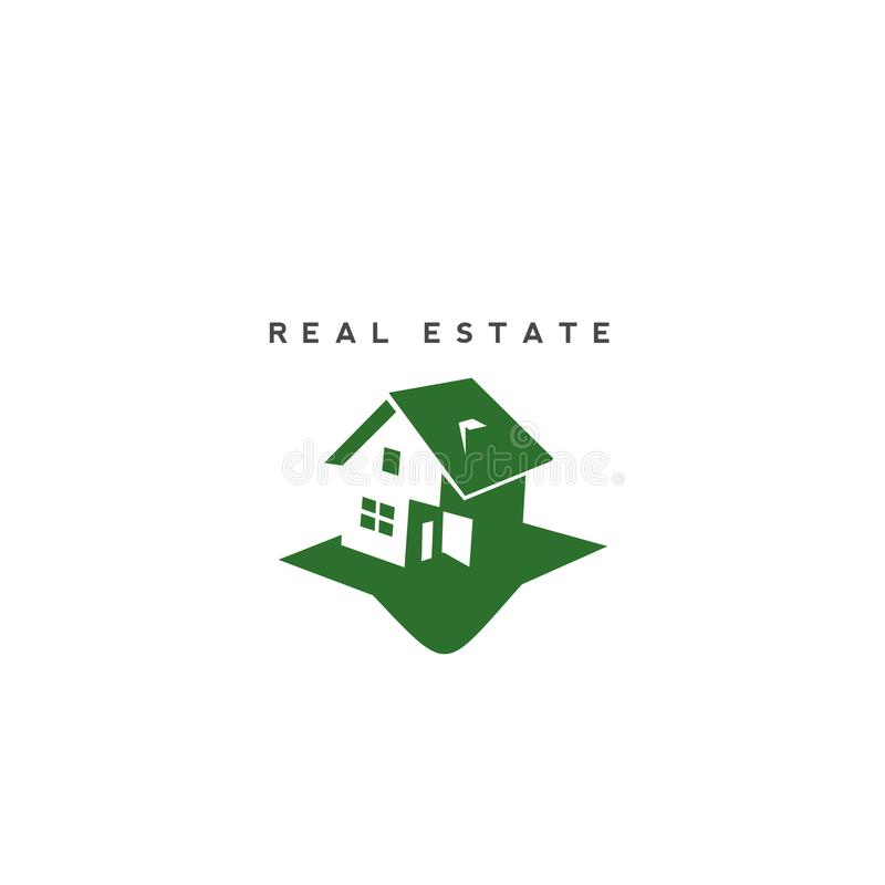 Grön fastighetlogodesign vektor illustrationer