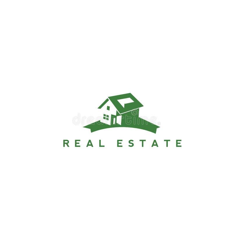 Grön fastighetlogodesign stock illustrationer