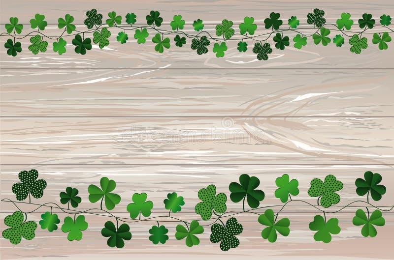 Grön festlig bunting med växt av släktet Trifolium Irländsk ferie - lyckliga Sts Patrick dag med girlanden av tre-bladet Hälsning vektor illustrationer