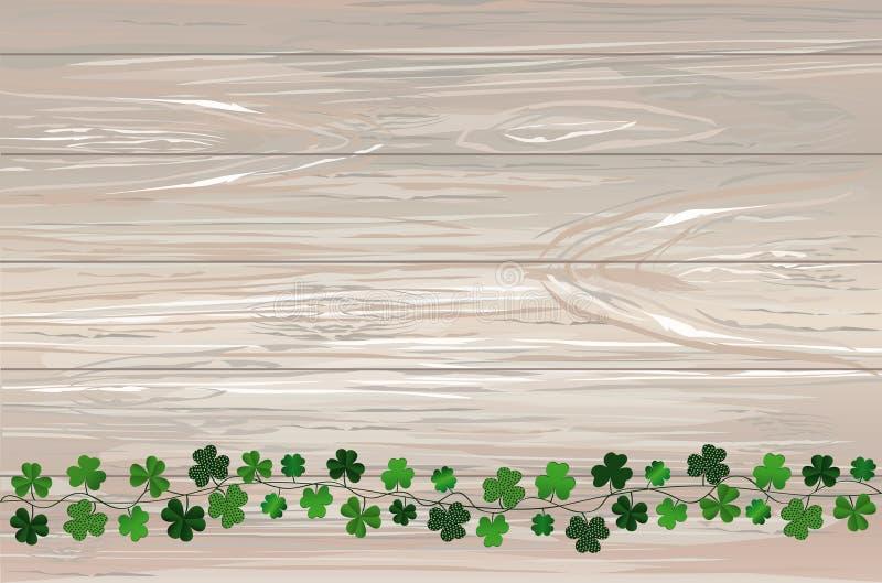 Grön festlig bunting med växt av släktet Trifolium Irländsk ferie - lyckliga Sts Patrick dag med girlanden av tre-bladet Hälsning royaltyfri illustrationer