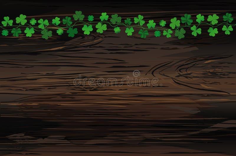 Grön festlig bunting med växt av släktet Trifolium Irländsk ferie - lyckliga Sts Patrick dag med girlanden av tre-bladet Hälsning stock illustrationer
