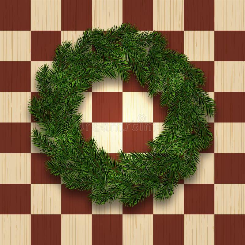 Grön filial av granen i form av en julkrans med skugga mot bakgrunden av ett naturligt träd i en bur vektor illustrationer