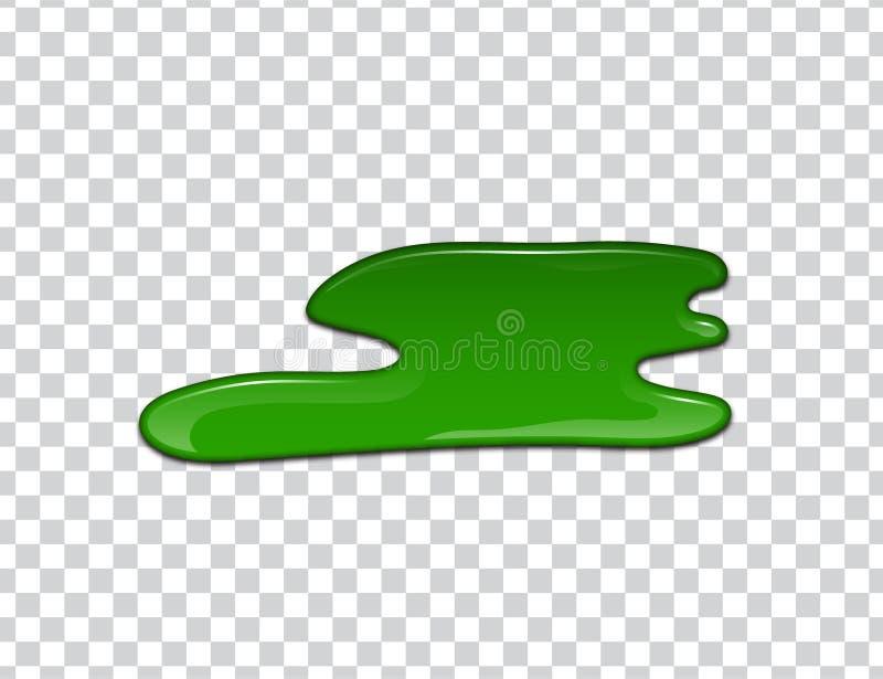 Grön flytande, färgstänk och fläckar Slamvektorillustration vektor illustrationer