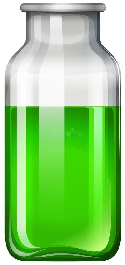 Grön flytande i glasflaska royaltyfri illustrationer