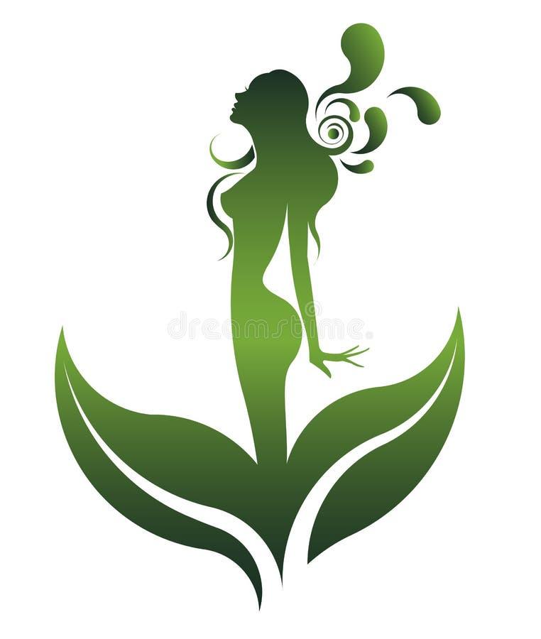 Grön form av den härliga kvinnasymbolsskönhetsmedlet och brunnsorten, logokvinnor på vit bakgrund, royaltyfri illustrationer