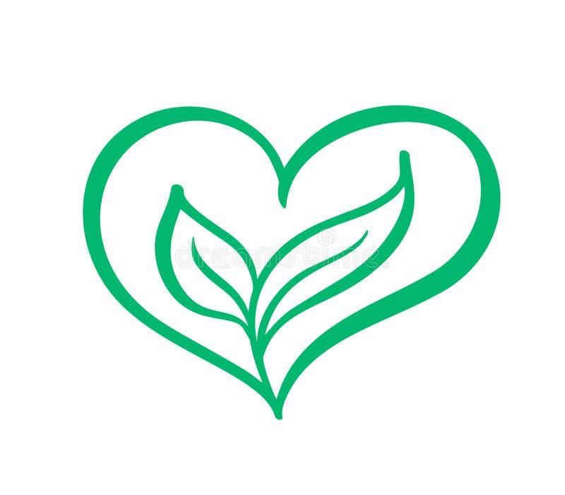 Grön form för vektorsymbolshjärta och två sidor Kan användas för eco, växt- sjukvård för strikt vegetarian eller logo för naturom vektor illustrationer