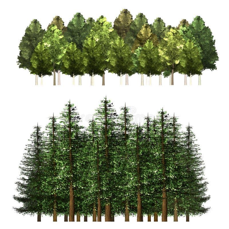 Grön Forrest trädbakgrund royaltyfri illustrationer