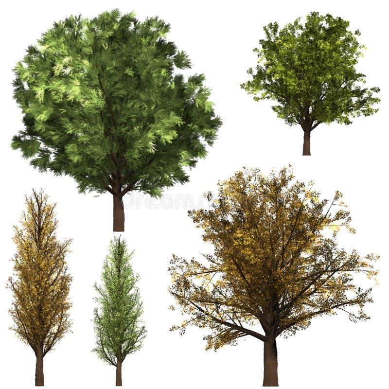 Grön Forrest trädbakgrund Vit isolatbakgrund och psd för lager stock illustrationer