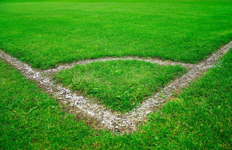 grön fotboll för fält arkivbild