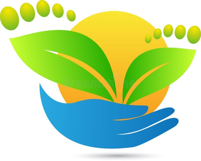 Grön fottryckomsorg stock illustrationer
