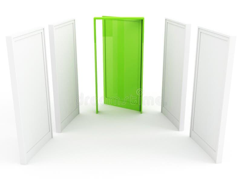 grön framgång för dörr till royaltyfri illustrationer