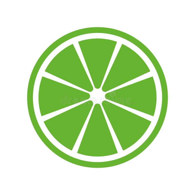 Grön fred av den främre sikten för limefrukt eller för citron på vit bakgrund Fred av den gröna citronvektorn eps10 stock illustrationer