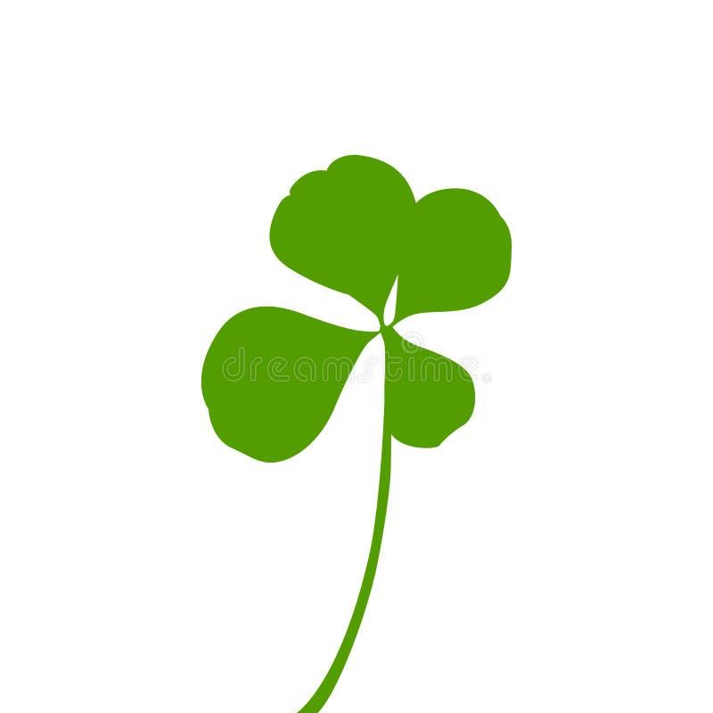 Grön fyra-sprucken ut växt av släktet Trifoliumsymbol vektor illustrationer