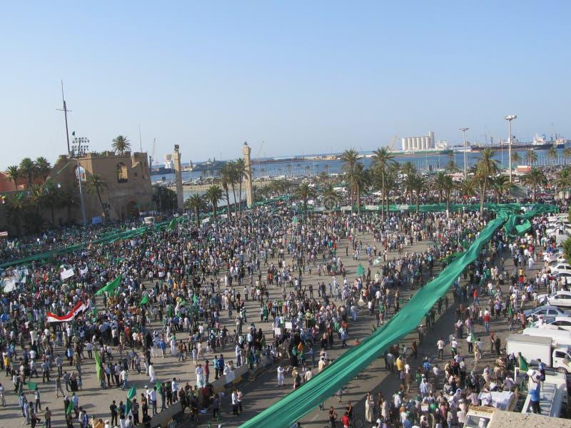 Grön fyrkant - (Tripoli, Libyen) arkivbild