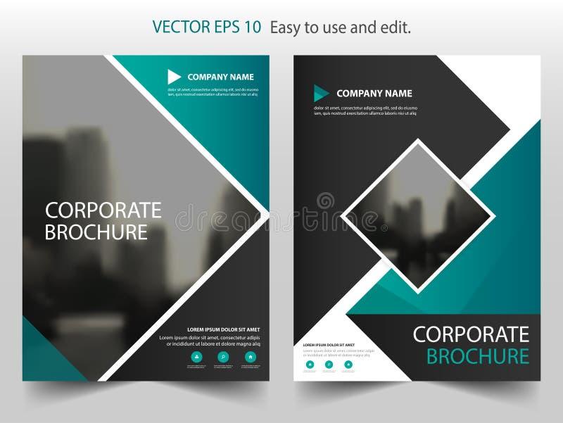 Grön fyrkantig design för mall för reklamblad för broschyr för vektorbroschyrårsrapport, bokomslagorienteringsdesign, abstrakt af stock illustrationer