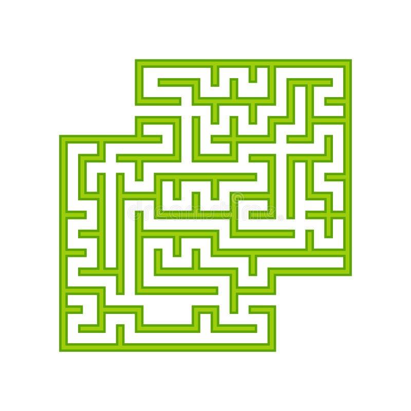 Grön fyrkantig labyrint barnprickar finner leken dold för att skissa för att förena dig Enkel plan vektorillustration som isolera royaltyfri illustrationer