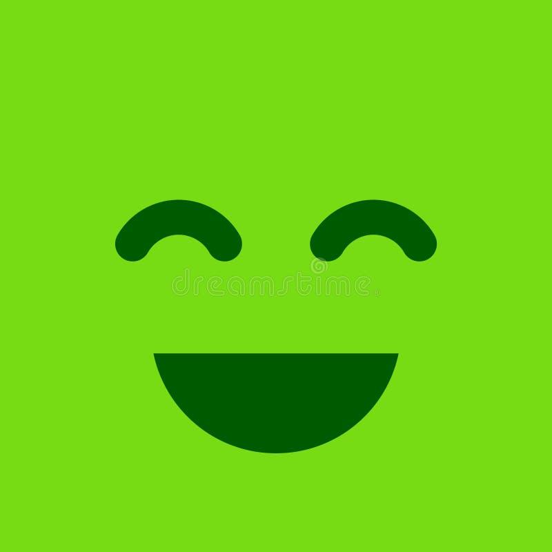 Grön fyrkantig smiley knapp Positiv sinnesrörelse- och tillfredsställelsesi royaltyfri illustrationer