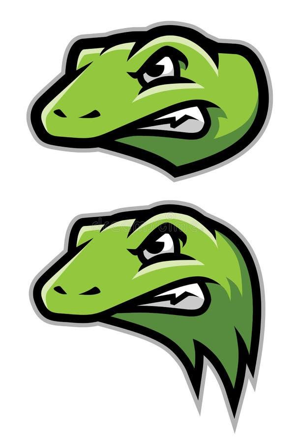 Grön gecko, ödla, reptilhuvud Logo Mascot stock illustrationer