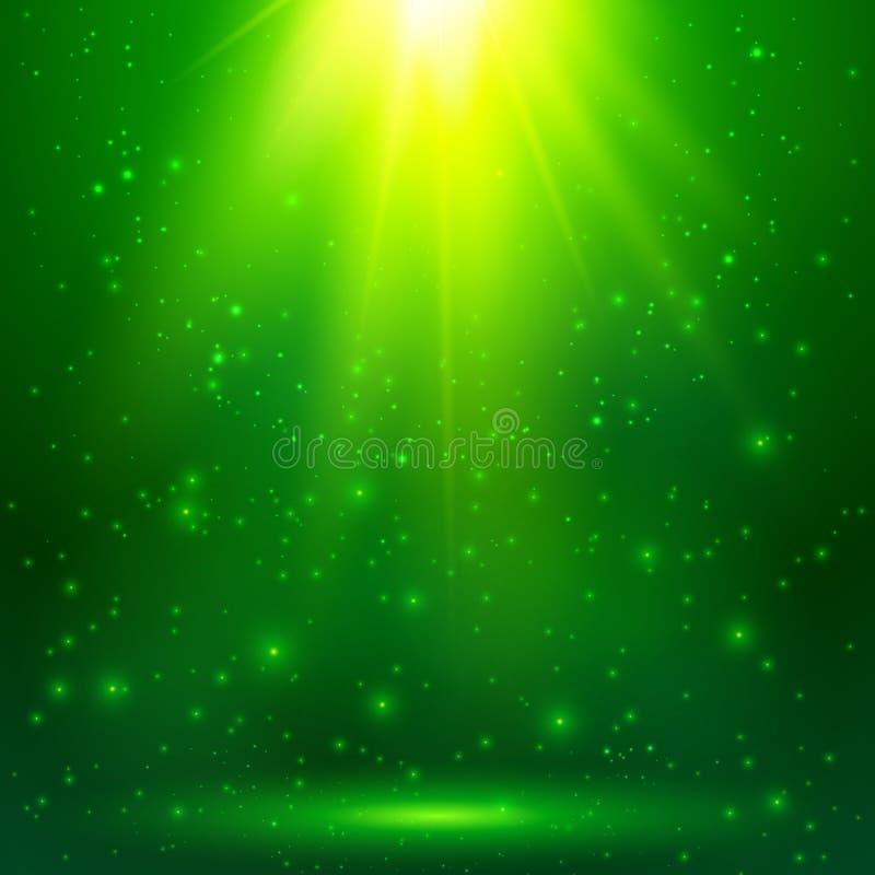 Grön glänsande magisk vektorljusbakgrund royaltyfri illustrationer