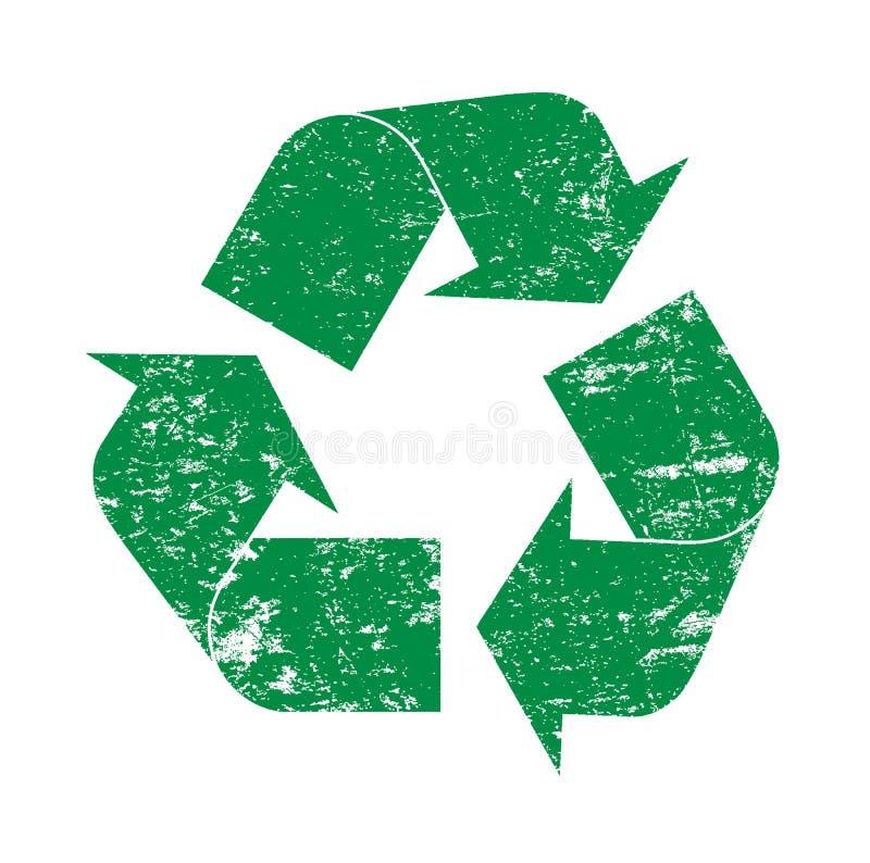 Grön grunge som återanvänder logosymbolsillustrationen stock illustrationer