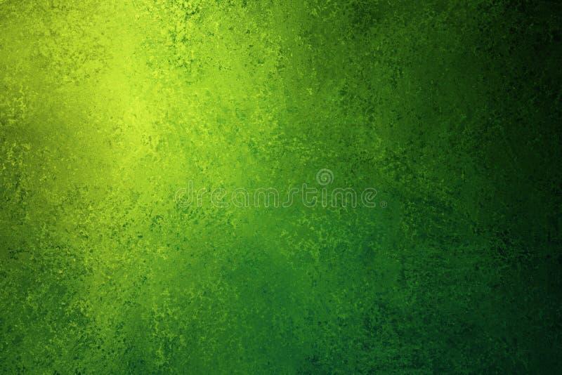 Grön grunge texturerad strålkastarebakgrund med guling- och blåttfärger och mjuk belysning royaltyfri illustrationer
