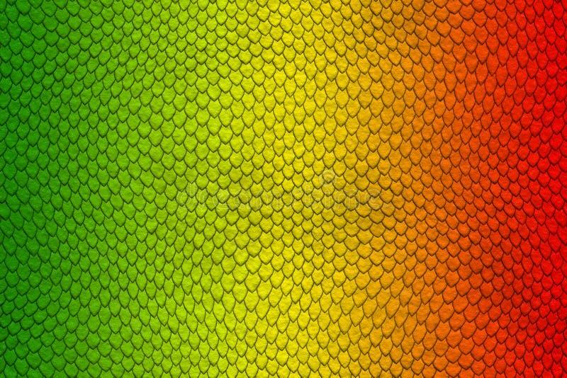 Grön, gul och röd kulör modell för ormhud royaltyfri illustrationer