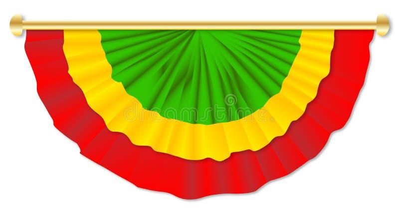 Grön gul röd Bunting vektor illustrationer
