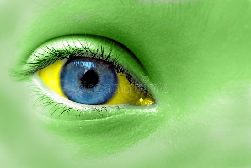 Grön guling och blått öga royaltyfria foton
