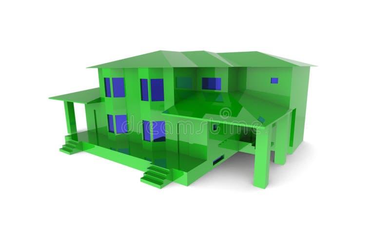 Grön härlig villa med blåa fönster på en vit bakgrund royaltyfria foton