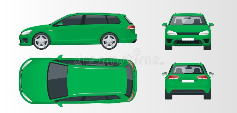 Grön halvkombibil för vektor Kompakt hybrid- medel royaltyfri illustrationer