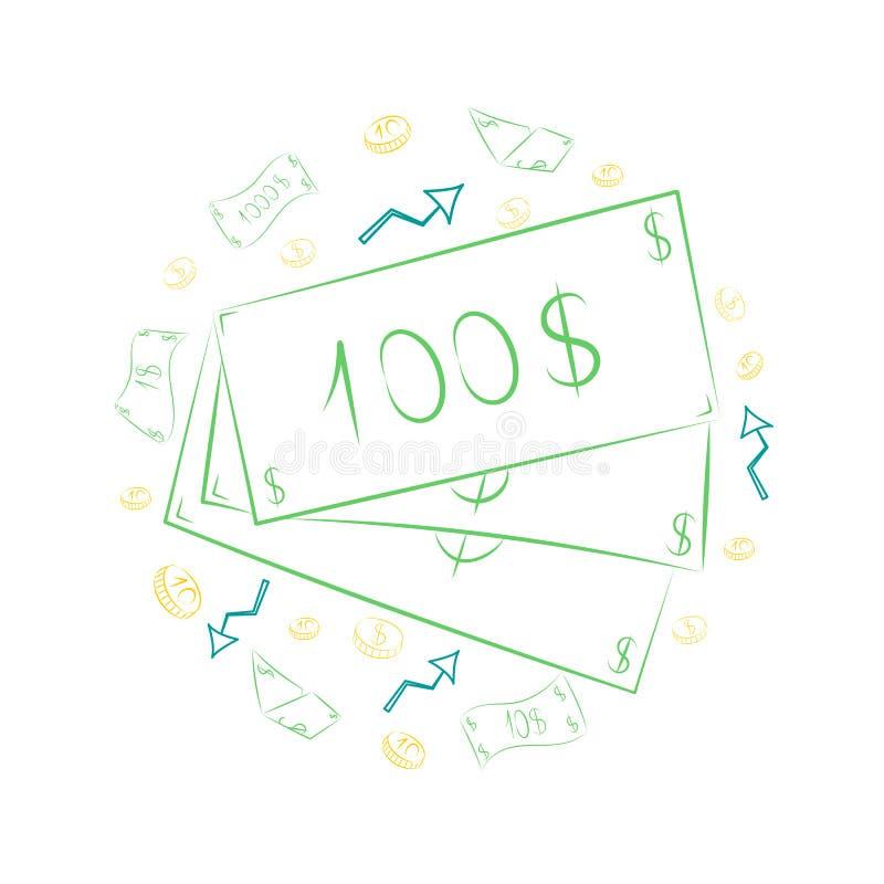 Grön hand drog sedlar och guld- mynt Klottra teckningar av kassa och pilar som är ordnade i en cirkel exponeringsbärbar datorlamp stock illustrationer