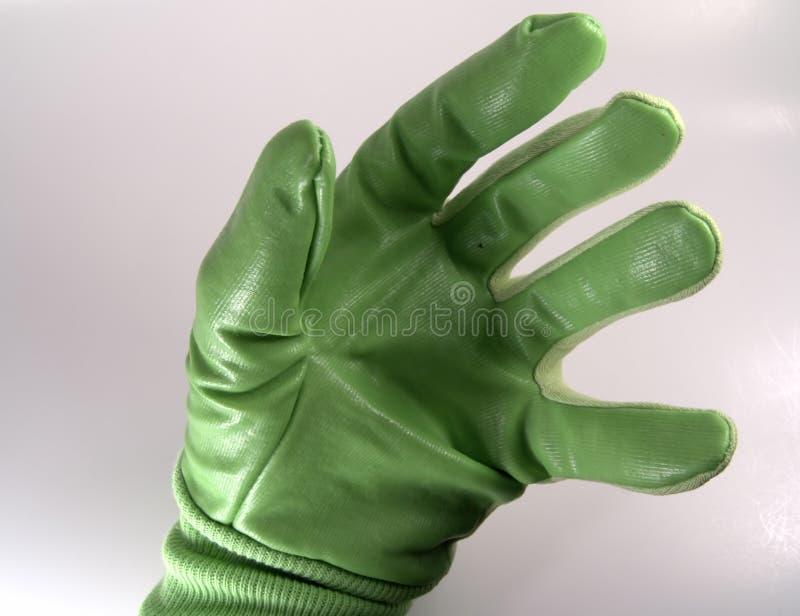 grön hand för handske arkivfoto
