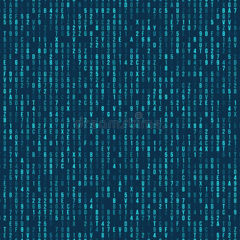 Grön hexadecimaldatorkod abstrakt bakgrundsmatris mekaniskt tangentbord för attackfelhacker Frambragt begrepp för datorkod royaltyfri illustrationer