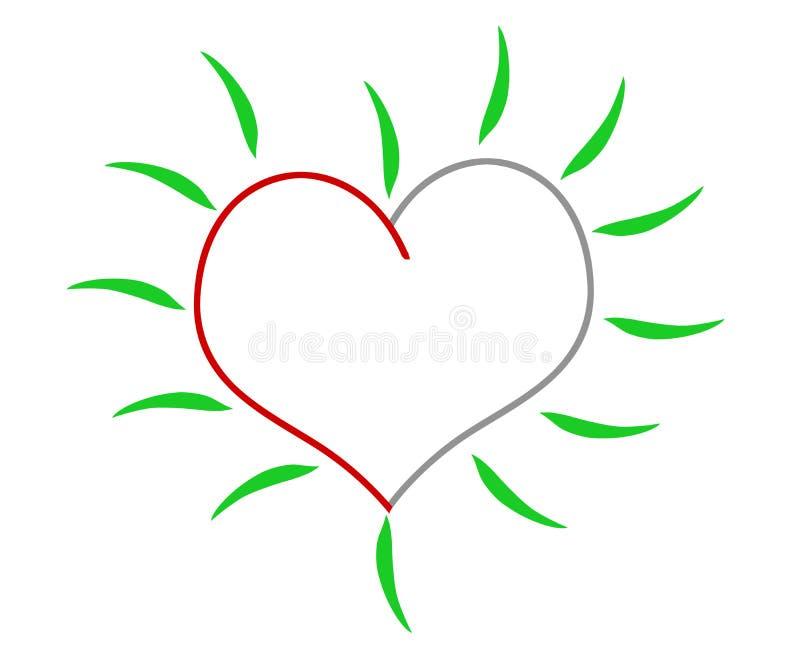 grön hjärta vektor illustrationer