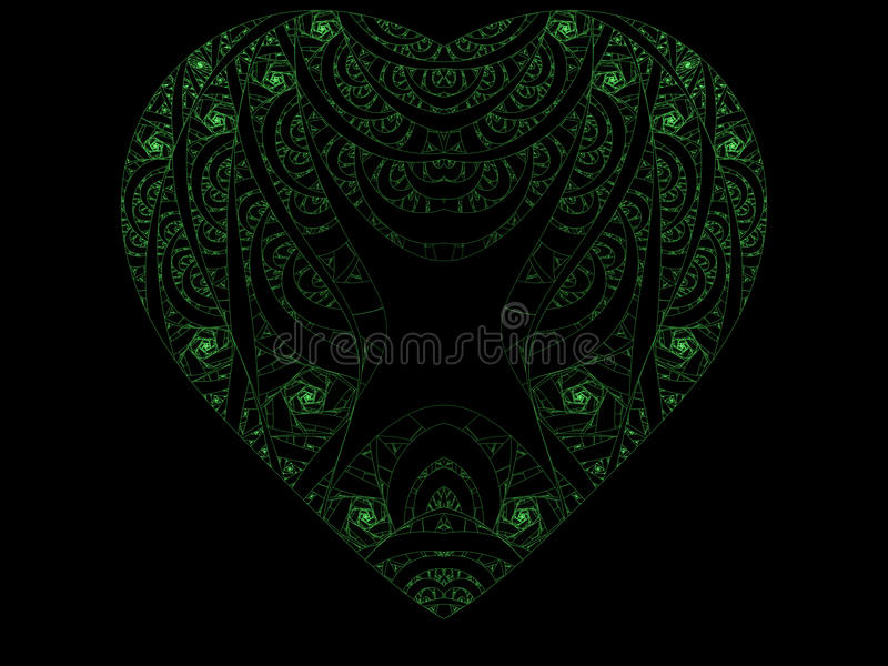 grön hjärta för fractal arkivfoto