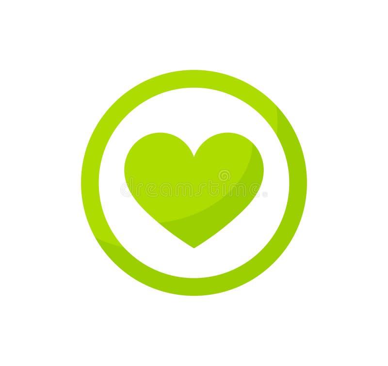 Grön hjärtaecosymbol vektor illustrationer