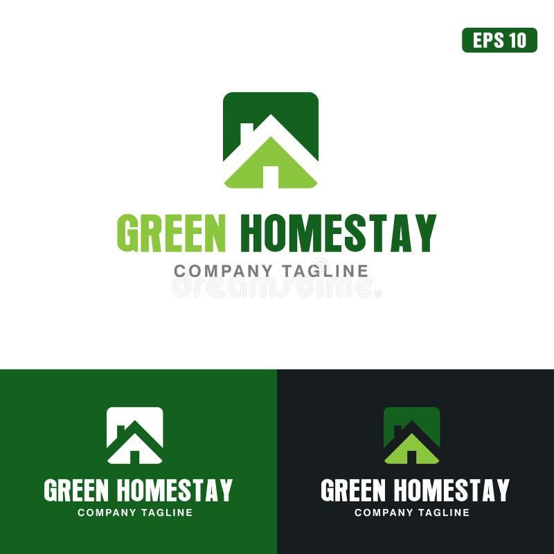 Grön Homestaylogo/affär Logo Idea för symbolsvektordesign royaltyfri illustrationer