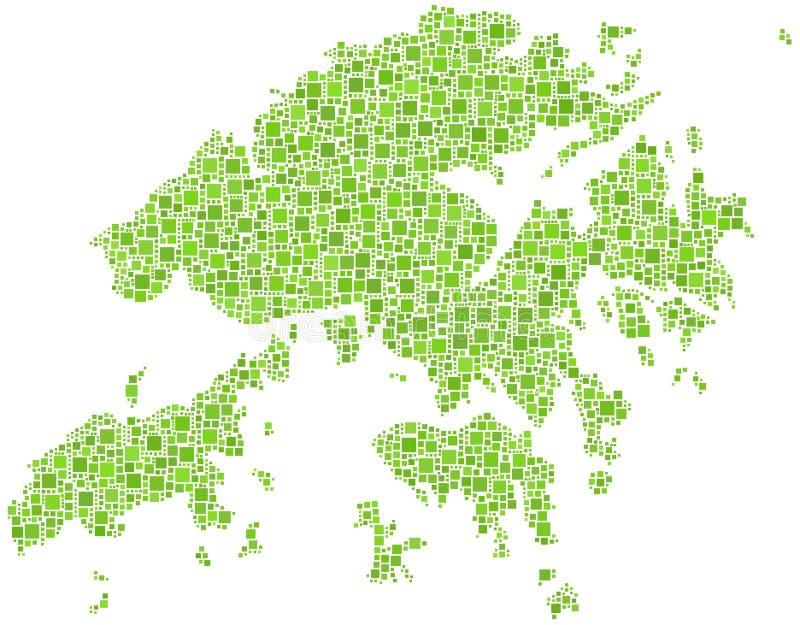 grön Hong Kong översikt royaltyfri illustrationer