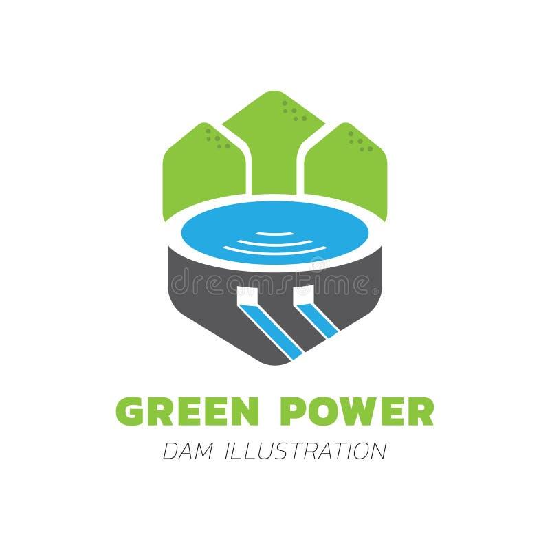 Grön illustration för bergsjövektor royaltyfri illustrationer