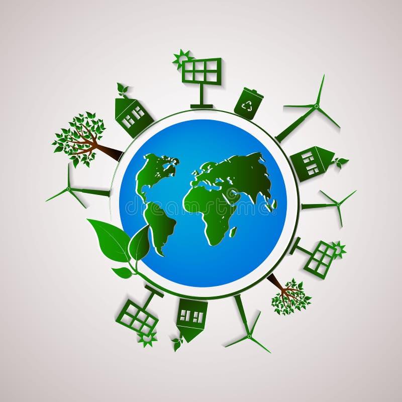 Grön illustration för diagram för information om planetvektor Ekologilägenhetdesign stock illustrationer