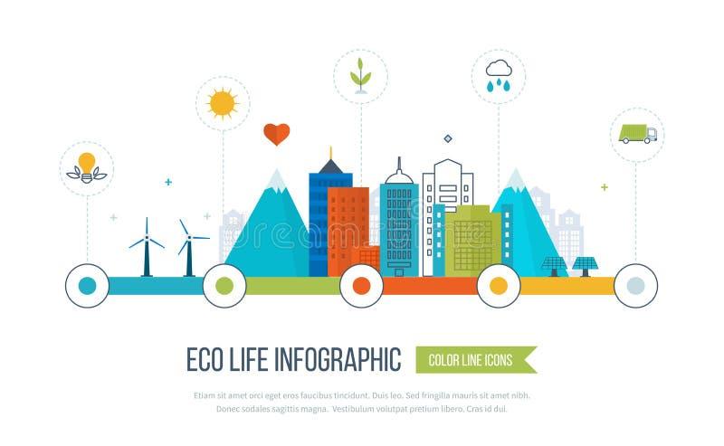 Grön infographic ecostad Ekologibegrepp, royaltyfri illustrationer