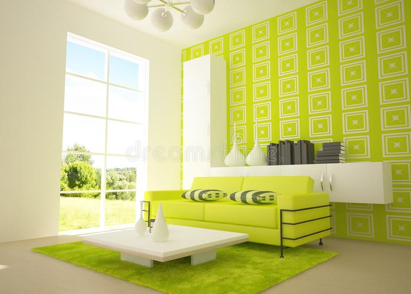 grön interior 3d stock illustrationer