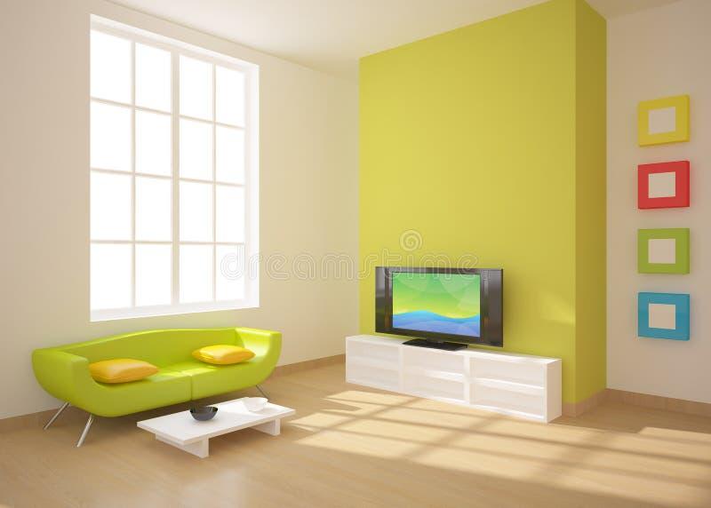 grön interior för sammansättning royaltyfri illustrationer