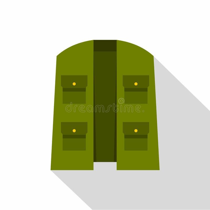 Grön jägarevästsymbol, lägenhetstil vektor illustrationer