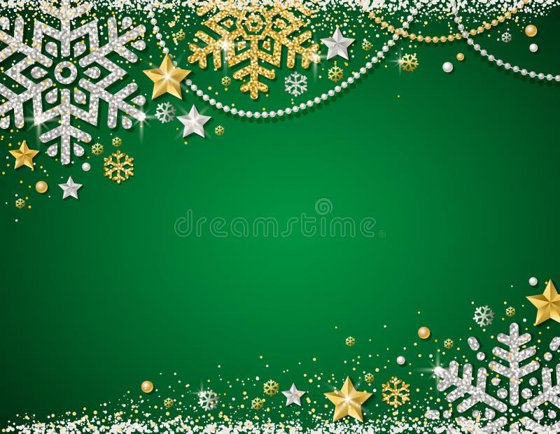 Grön julbakgrund med ramen av guld- och silver som blänker snöflingor, stjärnor och girlander, vektor vektor illustrationer